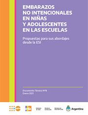 Tapa documento Embarazos no intencionales en niñas y adolescentes en las escuelas.